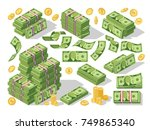 various money bills dollar cash ... | Shutterstock .eps vector #749865340