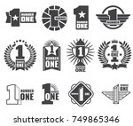 number one vector logos set.... | Shutterstock .eps vector #749865346