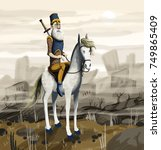 knight on a hoarse in a... | Shutterstock . vector #749865409