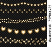 set of garlands on a vector... | Shutterstock .eps vector #749866279