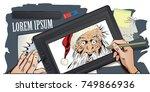 funny santa. stock illustration.... | Shutterstock .eps vector #749866936