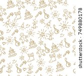 christmas background hand drawn.... | Shutterstock .eps vector #749880178