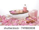 spa setting on many flower...   Shutterstock . vector #749883838