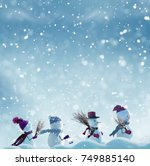 merry christmas and happy new... | Shutterstock . vector #749885140