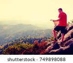 man in t shirt and pants on... | Shutterstock . vector #749898088