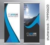 blue roll up business brochure... | Shutterstock .eps vector #749906620