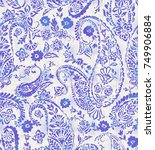seamless paisley pattern with... | Shutterstock . vector #749906884
