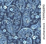 seamless paisley pattern with...   Shutterstock . vector #749906890