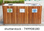 wood enclosure for trash cans... | Shutterstock . vector #749908180