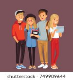group of young people hugging | Shutterstock .eps vector #749909644
