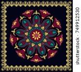 colored mandala on a black...   Shutterstock .eps vector #749912530