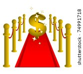 red carpet with golden dollar... | Shutterstock .eps vector #74991718