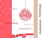 background with merry christmas ... | Shutterstock .eps vector #749919160
