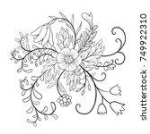 vector floral composition ...   Shutterstock .eps vector #749922310