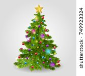 the christmas tree is decorated ... | Shutterstock . vector #749923324