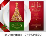 christmas greeting and new... | Shutterstock .eps vector #749924830