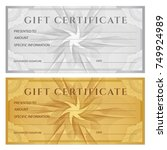 gift certificate  voucher ... | Shutterstock .eps vector #749924989