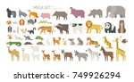 Animal mega set side view pose. mammal land based wildlife animals. geometric vector illustration flat design