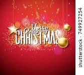 vector merry christmas... | Shutterstock .eps vector #749927254