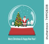 christmas snow glass ball with... | Shutterstock .eps vector #749928208