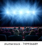 viewers watch line of shining... | Shutterstock . vector #749936689