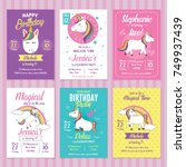 set of unicorn birthday... | Shutterstock .eps vector #749937439
