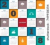2018 modern calendar template ... | Shutterstock .eps vector #749938354