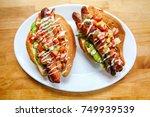 fresh healthy sonoran hot dogs | Shutterstock . vector #749939539