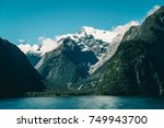 lake and mountain landscape... | Shutterstock . vector #749943700