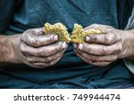 dirty hands homeless poor man... | Shutterstock . vector #749944474