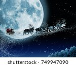 santa claus get a move to ride... | Shutterstock . vector #749947090