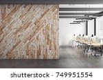 front view of clear wooden wall ... | Shutterstock . vector #749951554