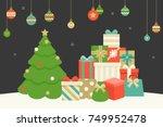 christmas hanging balls  pile... | Shutterstock .eps vector #749952478