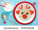 oatmeal porridge for christmas... | Shutterstock . vector #749953048
