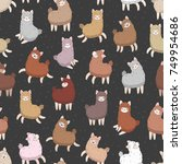 seamless pattern with funny... | Shutterstock .eps vector #749954686