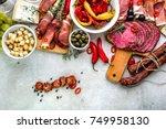traditional spanish tapas on...   Shutterstock . vector #749958130
