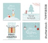 set of 4 cute christmas gift... | Shutterstock .eps vector #749958508