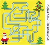 funny christmas maze game ... | Shutterstock .eps vector #749959540