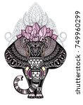 vintage style vector elephant... | Shutterstock .eps vector #749960299