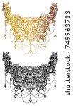 boho lotus.tattoo flower | Shutterstock .eps vector #749963713