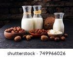alternative types of milks.... | Shutterstock . vector #749966026