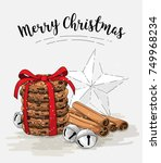 holiday theme  stack of brown... | Shutterstock .eps vector #749968234