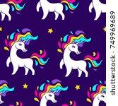 space unicorn magic astronaut... | Shutterstock .eps vector #749969689