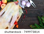 raw goose  ready to cook ... | Shutterstock . vector #749973814