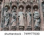 statues on the facade of... | Shutterstock . vector #749977030