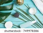 spa background view from above  ... | Shutterstock . vector #749978386
