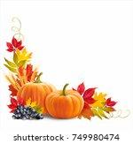 thanksgiving border with...   Shutterstock .eps vector #749980474