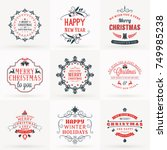 set of merry christmas and... | Shutterstock .eps vector #749985238