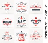 set of merry christmas and... | Shutterstock .eps vector #749985259