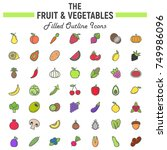 fruit and vegetables filled... | Shutterstock .eps vector #749986096